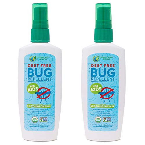 Greenerways Organic Bug Spray for Kids, Kid Friendly Natural Insect Repellent, USDA Organic, Non-GMO, Mosquito-Repellent, Bug Repellant DEET-Free (4oz, 2 Pack)