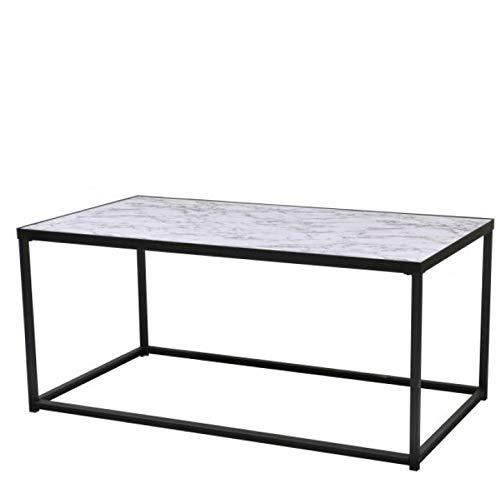 Urban Living, Metalen Salontafel met marmerlook, Industrieel design, Metalen frame, 110x60x50