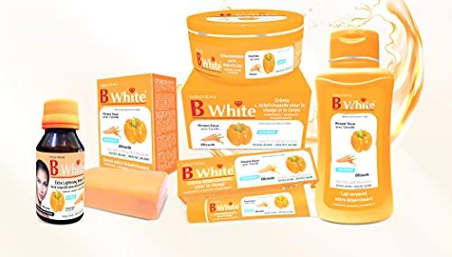 Gama completa de B White Piment suave con zanahoria – crema, loción, aceite corporal, crema facial y jabón.