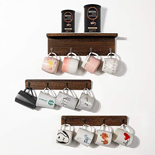 OurWarm Coffee Mug Holder Wall Mounted Kitchen Shelf with 12 Hooks Coffee Cup Rack Coffee Bar Shelf Rustic Floating Storage Shelves Wall Decor for Coffee Mug Hangers Display and Organizer