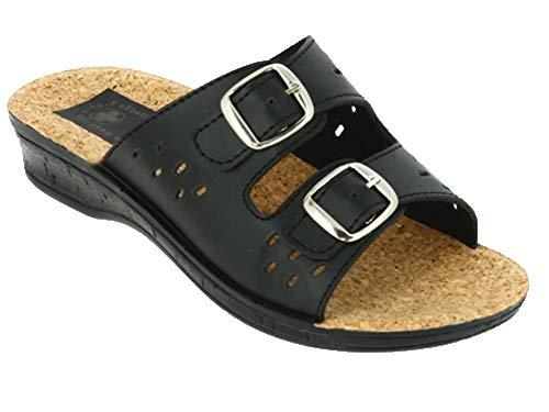 Damen Komfort Pantolette | Hausschuhe Sandalette Sandale | Arbeitsschuhe Berufsschuhe Slipper | Krankenhaus Pflegeschuhe Gesundheitsschuhe | Gr.36-42 (Schwarz Schnalle 115, Numeric_37)