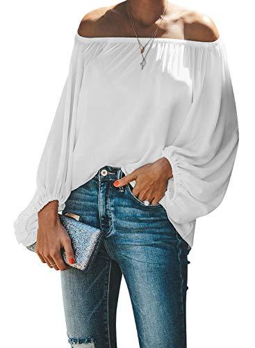 Paitluc Chiffon Blouses for Women Lantern Sleeve Elastic Neck Off Shoulder Top White Size XL