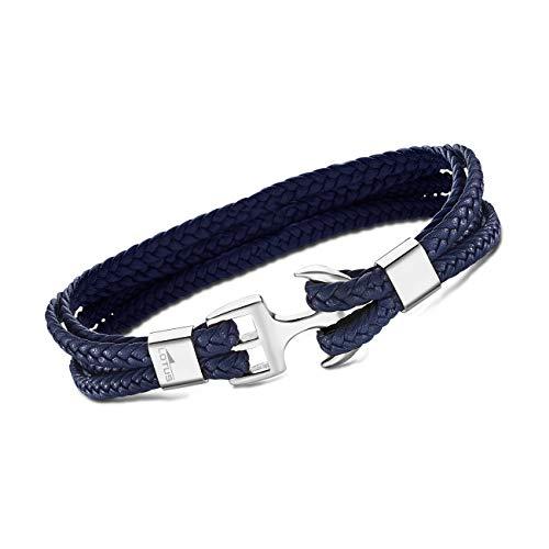 LOTUS Pulsera azul LS2006-2/2 trenzada para hombre, joya de cuero JLS2006-2-2