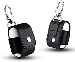 mStick Black Shockproof Artificial Leather Look Airpods Case Cover Pouch with Clasp Hook & Snap On Button