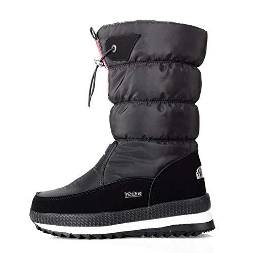 Gzhengjie Winterstiefel Damen Gefüttert Winterschuhe Stiefeletten Warm Winter Stiefel Kurzschaft Winter Sneaker,Schwarz,38
