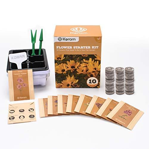 KORAM Kit di fiori per giardino Kit di fiori per la casa - 10 pacchetti di semi di fiori autunnali Set da giardino con tutto ciò che un giardiniere ha bisogno di coltivare