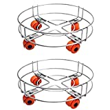 KHUBINATH Cylinder Trolley with Wheels | Gas Trolly/Lpg Cylinder Stand Stainless Steel Set of 2Pcs (2, 10) in Silver Colour