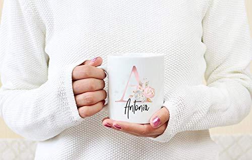 Geschenk Trauzeugin Tasse personalisiert mit Namen und Initial Rose Blumen
