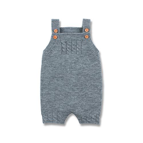 mimixiong Baby-Jungen-Spielanzug-Overall gestrickt ärmelloses Einteiler Outfits Kleidung(Grau,0-6 Monate)