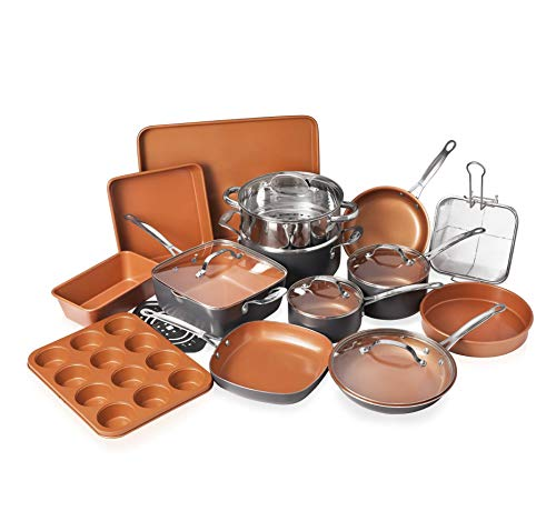 Gotham Steel 20 Piece All in One Kitchen Cookware + Bakeware Set with Nonstick Durable Ceramic Copper Coating - Includes Skillets, Stock Pots, Deep Square Fry Basket, Cookie Sheet and Baking Pans