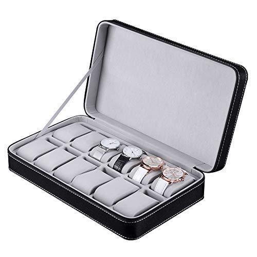 DXX-HR Watch Display Storage Box 12 Watch Box Zipper Bag PU Watch Jewelry Box Storage Box (Color : Black, Size : S) (Color : Black)