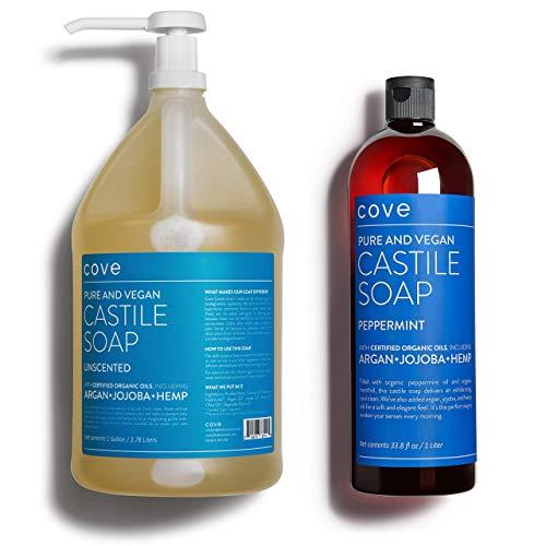 Cove Castile Soap - 1 Gallon Unscented + 1 Liter Peppermint Bundle -...