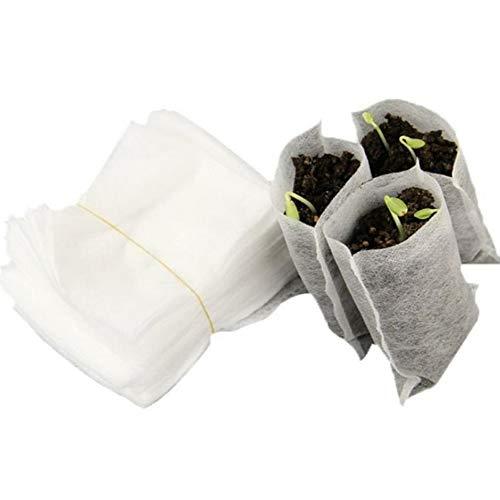 Silverdee 100 Teile/Beutel Biologisch Abbaubare Samen Kindergarten Taschen Kindergarten Blumentöpfe Gemüsetransplantation Zucht Töpfe Garten Pflanzen Tasche-Weiß
