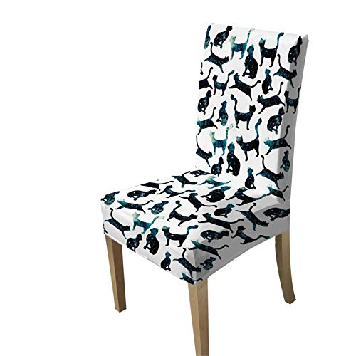 KORANGE Stuhlhussen Stuhlhusse Stuhl Hussen Polyester 3D Print (Color : Starry cat)