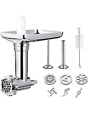 Accessoire voor KitchenAid vleesmolen, inclusief 2 worstvulbuizen en 4 maalschijf, duurzaam metaal accessoires voor keukenmachines, zilver