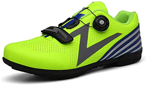 Scarpe da Ciclismo Unisex Traspiranti per Lo Sport all'Aria Aperta Mountain Bike Senza Bici Scarpe da Bici da Corsa su Strada (42,Verde)