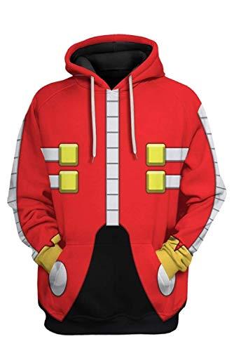 Mens Dr.Eggman Pullover Hoodie Hedgehog Sweatshirt Cartoon Jacket...