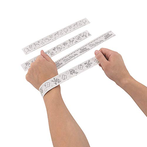 Color Your Own Christmas Slap Bracelets (48Pc) - Crafts for Kids and Fun Home Activities