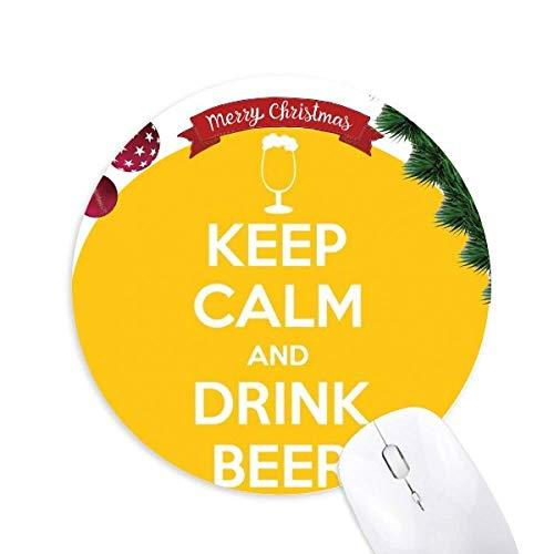 Zitiere ruhig und trink Bier Gelb rund Gummi Maus Pad Weihnachtsbaum Mat