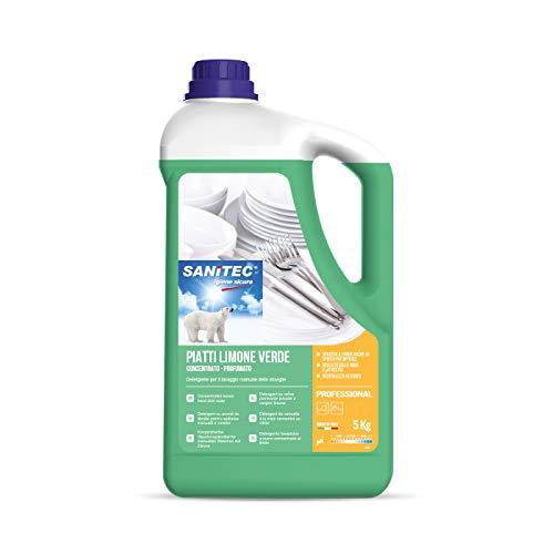 Sanitec, Piatti Limone Verde, Detersivo Liquido Piatti, 5 kg