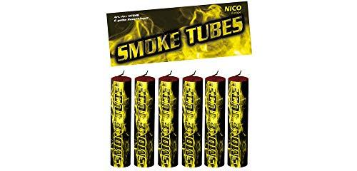 Nico 6X Smoke Tube Rauchfackeln Rauchbomben Rauchgenerator Raucherzeuger Rauchtopf (gelb)