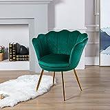 Wahson Sillón Lounge Terciopelo con Patas de Metal Chapadas en Oro, Butacas de Salón para Dormitorio/Tocador/Recepción (Verde)