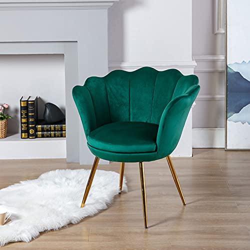 Wahson Velvet Accent Chair for Bedroom with Gold Plating Metal Legs, Leisure Armchair for Living Room/Cafe/Vanity (Green)