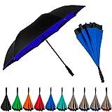 StrombergBrand Inversa Umbrella (Reversible Umbrella), Double Layer Inverted Umbrella For Women and Men, Large Umbrella Windproof - Self Standing Umbrella Reverse Close Royal Blue Umbrella
