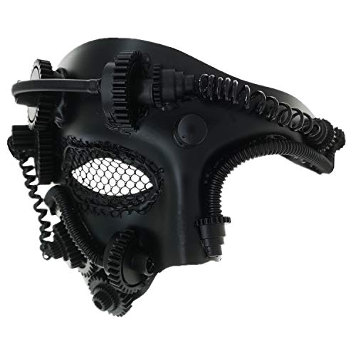 Ubauta Steam Punk Phantom der Oper Vintage mechanische Männer venezianische Maske für Maskerade / Party / Ball Prom / Halloween / Karneval (Black Punk Mesh Eye)