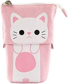 Cat Pencil Pouch Case, Doraking Cute Cat Contractive Pen Case Student Pen Holders Big Capacity Portable Pen Pouch Office A...