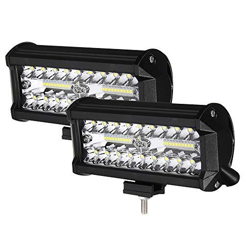 Faro Trabajo LED 7'' 800W Focos LED Tractor 24000LM 6500K IP68 Impermeable 9-32V 2PCS Faros de Trabajo para Camión ATV SUV Barco