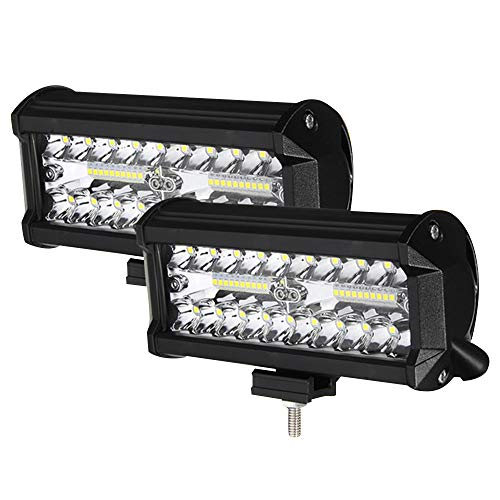 Phare de Travail LED 24000LM 6000K Projecteur LED Voiture 9-32V Etanche IP68 pour Moto Camion Tracteur SUV (2PCS, 7'' 800W)