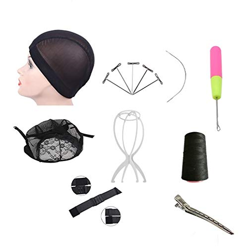 Wig Making Starter Kit|14 pcs DIY Wig Tool For Pro and Beginner| Wig Head Stand| Adjustable Elastic Band| Assorted Shape Needles| Weaving Thread| T-Pins Needle| Dome Cap| Lace Wig Caps (22 inch)