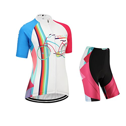 junglest Maillot Ciclismo Mujer Manga Corta Jersey(S~5XL,opción:Tirante,3D Cojín) N218