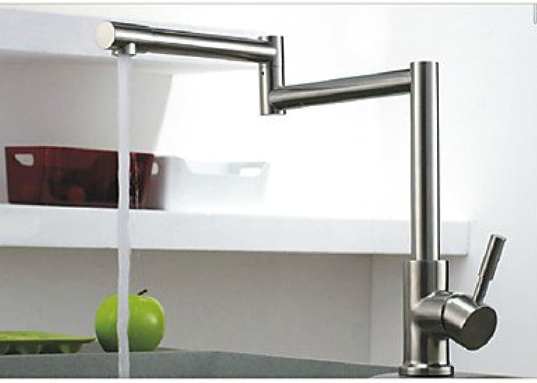 Von YIRUI redatable Brushed Nickel Kitchen Faucet Folding Single Handle Mixer Tap