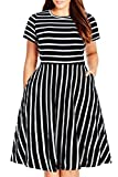 Nemidor Women's Round Neck Summer Casual Plus Size Fit and Flare Midi Dress with Pocket (Black Stripe, 24W)