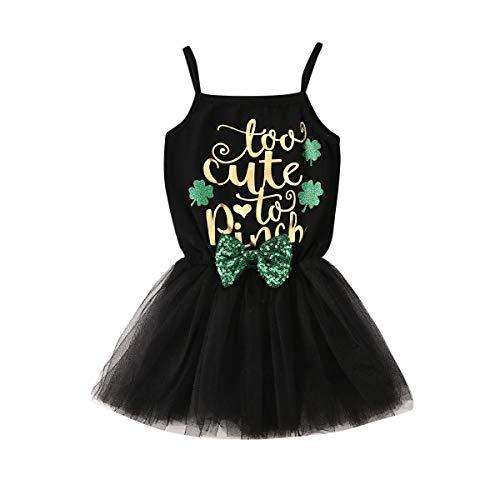 Pasgeboren Baby Meisjes St. Patrick's Day Outfit Mouwloos Romper Bodysuit Pailletten Tutu Rok Jurken met Bow-Knot