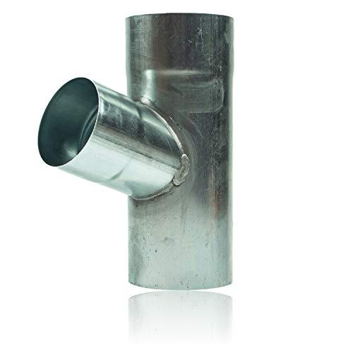 Zink Rohrabzweig 100/80 mm in 72 Grad - Fallrohrabzweig aus formsicherm Titanzink für Fallrohre