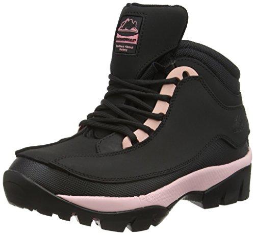Groundwork Gr386, Botas de Seguridad Mujer, Negro/Rosa, 38 EU (talla del fabricante: 5 UK)