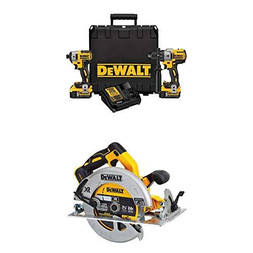 "DEWALT DCK299P2 20V MAX XR 5.0Ah Premium Cordless Hammerdrill & Impact Driver Combo Kit with DCS570B 7-1/4"" (184mm) 20V Cordless Circular Saw with Brake (Tool Only)"