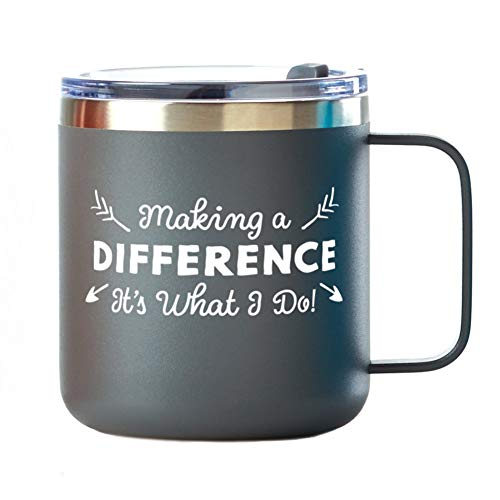 Customizable 12 oz. Stainless Steel Travel Coffee or Tea Mug with Handle - Employee Appreciation Gift - Vacuum Insulation Spill-Proof Lid - Encouraging Gift for Staff includes Name Personalization