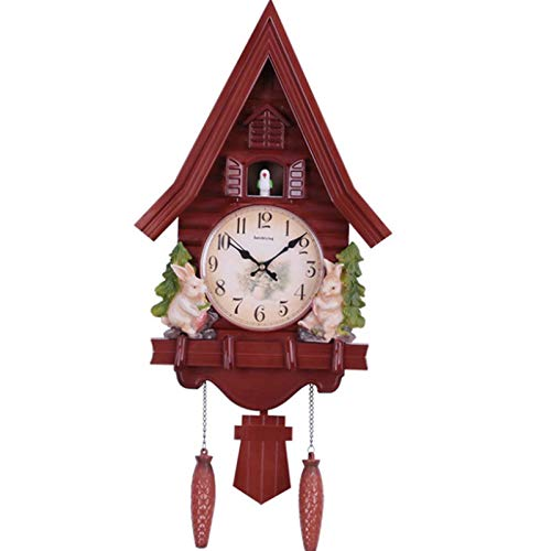 Reloj de pared de pájaro lindo, reloj de pared de cuarzo, reloj despertador de cuco, reloj de sala de estar, breve decoración de dormitorio para niños, relojes de alarma para el día en el hogar,Marrón