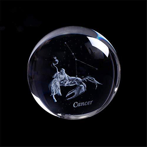 AMITD Laser gegraveerd sterrenbeeld kristallen bal miniatuur 3D kristal handwerk decoratie glas bal decoratie accessoires geschenk (80mm, kreeft)