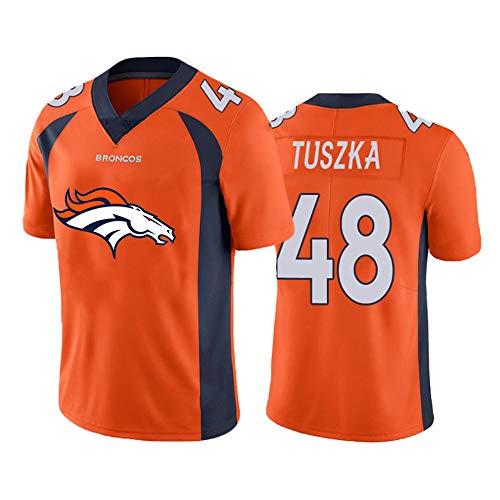Denver Broncos 48# Rugby-Trikots, American Football-Trikot Derrek Tuszka # 48, Besticktes Sweatshirt Schnelltrocknende Sport-T-Shirt-Trainingsoberteile-orange-XXXXL