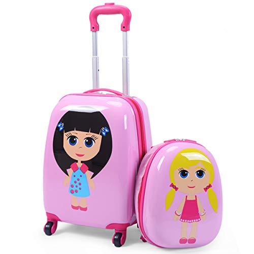 RELAX4LIFE 2 in 1 Set di Valigia per Bambini,Valigia Trolley per Bambini con Ruote Girevoli, Zaino con Piedini in Plastica, Bagaglio a Mano per Bambini, 30 cm+45 cm (Modello 9)