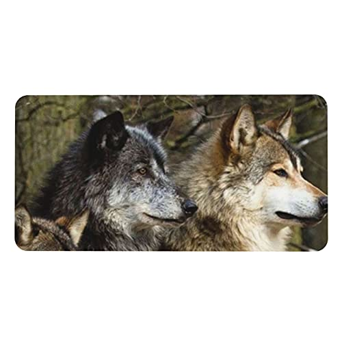 Print Different Colored Wolves Extended Gaming Mouse Pad ,XXL ,Non-Slip Laptop Computer Keyboard Pad for Office & Home 31.5' X 15.7' in