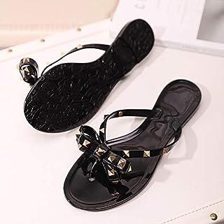 حذاء نسائي برشام القوس شقة soled الصنادل غير زلة هلام الأحذية المطاطية أحذية الشاطئ 36 Black