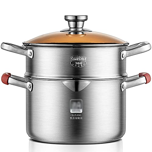 Stock Pot/vapor 304 Acero inoxidable Cocina engrosada Cocina Pote de doble fijo Poticion de inducción Fideos Potidle Pot (Size : 18CM)