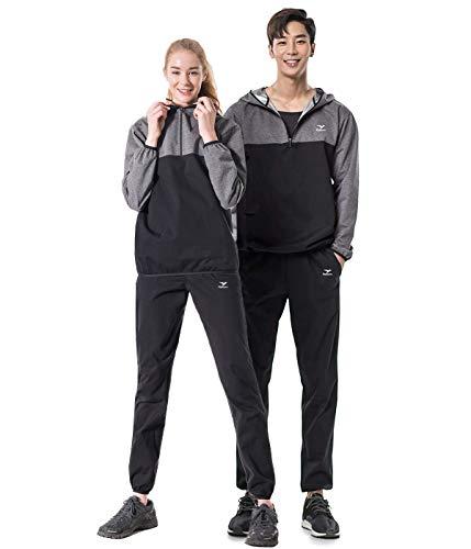 ReBorn サウナスーツ メンズ レディース ダイエット 上下セット [ 大きいサイズ 特許技術素材 シルバーハイロン 大量発汗 おしゃれ 男女兼用 ] S