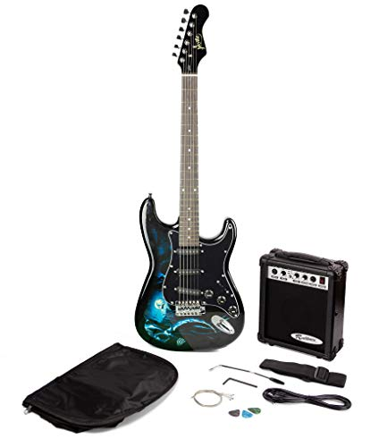 Jaxville ST1-HD-PK Hades St Style Electric Guitar Pack with Guitar...